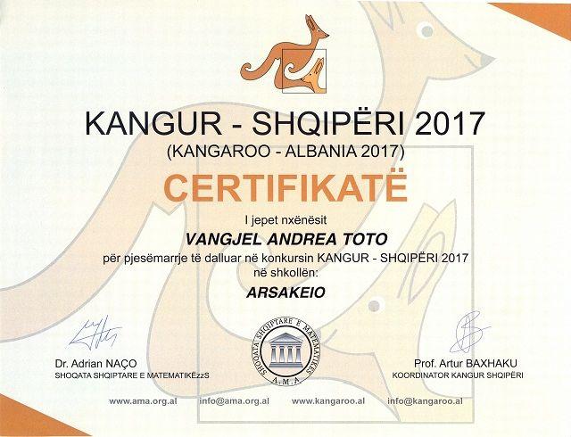 Διάκριση στον Διαγωνισμό Μαθηματικών «Καγκουρό» - Arritja në Konkursin ndërkombëtar të Matematikës Kangaroo