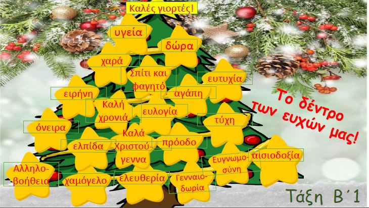 Χριστουγεννιάτικες ευχές και ιδέες από το Β΄1 τμήμα