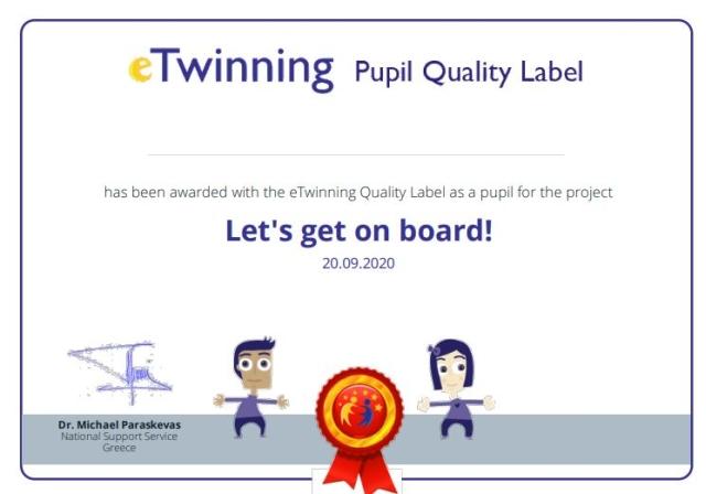 Βράβευση με Εθνικές Ετικέτες Ποιότητας στο e-Twinning