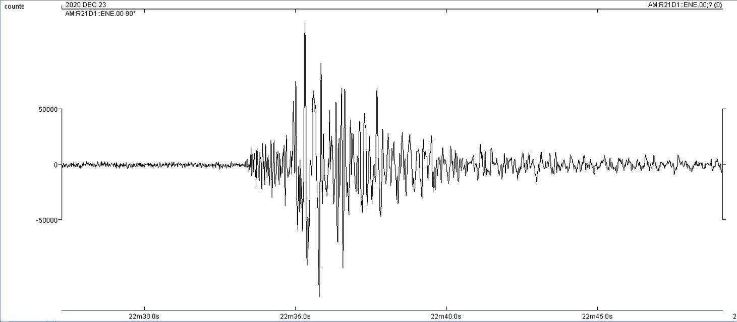 Καταγραφή σεισμού από τον σεισμογράφο τού Σχολείου